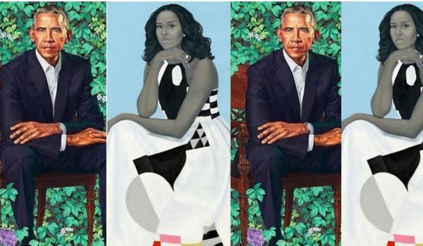 Präsidentenportrait Barack Obama Michelle Obama